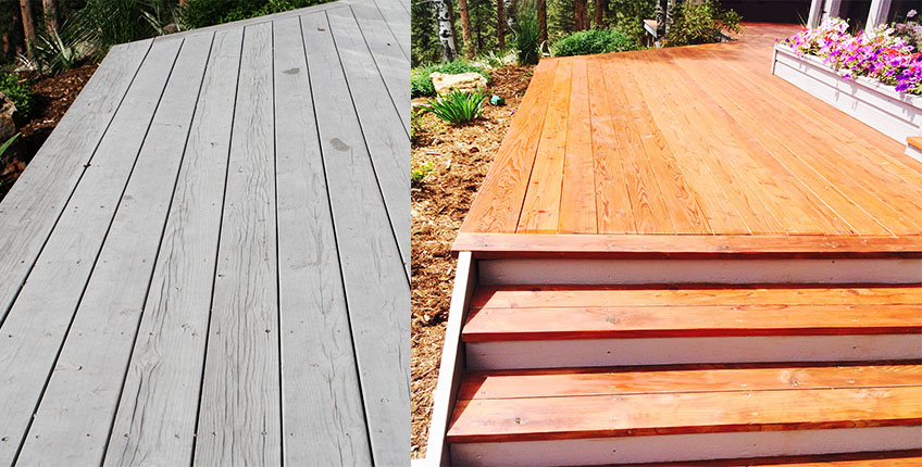 Deck Sanding and Refinishing before and after