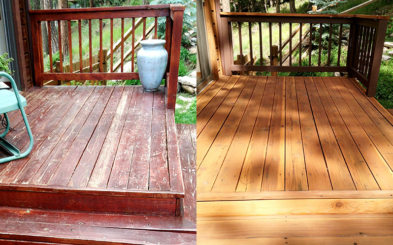 Deck Staining Before and After